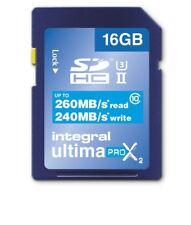 Integral 16 GB UHS-II U3 CLASSE 10 Scheda 260-240MB/s (R-W) 4K-Video 3D Full-HD DLSR