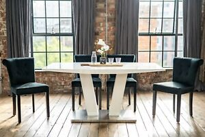 Alula Luxury White Gloss Dining Table and Chairs Set with a Choice of 4/6 Chairs