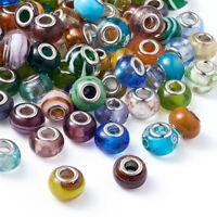 100pcs Mixed Handmade Lampwork Glass European Large Hole Rondelle Beads 14~16mm