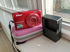Nikon COOLPIX S6300 16.0MP Digital Camera - Red - Pink Case, Excellent Condition