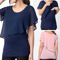 Women's Maternity Nursing Short Sleeve Tops Solid Breastfeeding T-Shirt Blouse