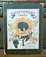 Sunflower Seeds Wooden Sign Block Shelf Sitter Tuck Farmhouse Primitive 3.5X4.5