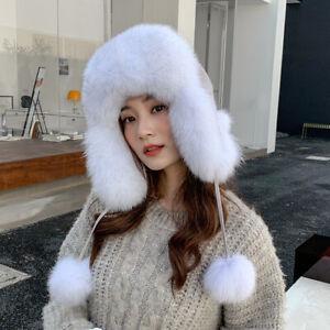 Womens Real Fox Fur Hat Russian Ushanka Hats Winter Warm Aviator Trapper Ski Cap