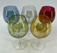 5 Vintage Etched Blown Glass Brandy Snifters Cognac Cordials Cut Starbursts Stem