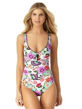 Anne Cole Womens Antigua Floral Print Shirred Keyhole One Piece Swimsuit