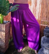 Magenta Purple Relaxed / Beach Pants Elastic Waist One Size Fits 12-14-16-18