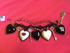 Betsey Johnson Vintage Hey Valentine Key Lips HUGE Lucite Puffy Heart Bracelet