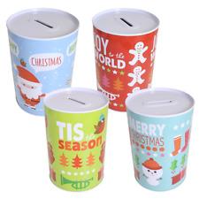 Christmas - Set of 4 Metal Money Tins - Festive Designs