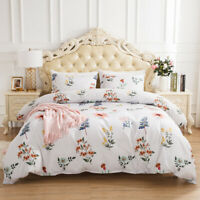 White Floral Bedding Set Duvet Quilt Cover Pillowcose Twin Queen King Reversible