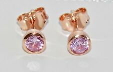 9ct Rose Gold on Silver Pink Tourmaline Stud Earrings - October Birthstone