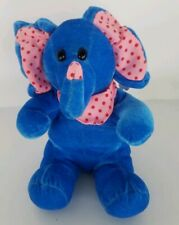 """Kellytoy Elephant Plush Blue Play Pet 7.5"""" with Pink Scarf Ears 2004 with Tag"""