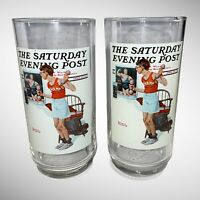 """1922 Norman Rockwell """" The Champ"""" Glass Cup Arby's Collector Series 2 Pcs 6"""" T"""