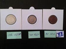 3 monnaies Suisse (1 fr 1880 + 10 cent 1881 + 2 cent 1893 )