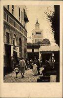 Tunis Tunesien Afrika alte Ansichtskarte ~1930 Straßenpartie Personen Moschee
