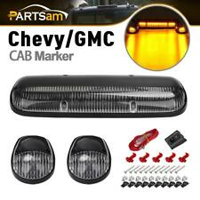3PC Clear Cab Roof Running Amber LED Lights for Chevy Silverado/GMC Sierra 02-07