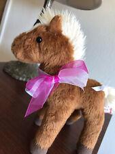 "Douglas Cuddle Toy Pony 9"" Plush Brown Horse Tan Mane, Liver Chestnut with Blaze"
