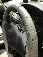 FOR LEXUS RX 98+ GREY PERFORATED LEATHER STEERING WHEEL COVER ORANGE DOUBLE STCH