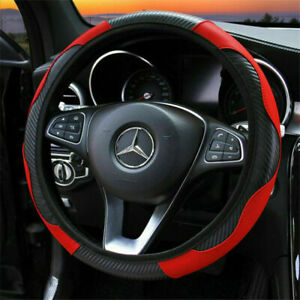 Red Car Auto Steering Wheel Cover Carbon Fibre Breathable Anti-slip Protector G