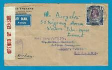 BURMA censor air cover 1941 Rangoon to England over horseshoe - Durban
