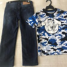 Nwt$79 True Religion Boys Camo Tee Set T-Shirt Jeans Adjustable Waist Blue Sz 5