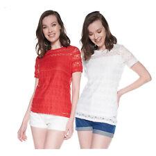 Sequano Damen Spitzen Shirt T-Shirt Kurzarm gerader Schnitt Rundhals NEU
