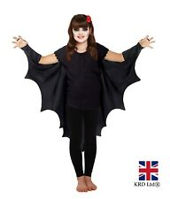 Child Gothic VAMPIRE BAT WINGS Cape Costume Kids Fancy Dress Halloween Outfit UK