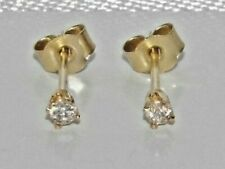 9ct Gold Real Diamond Solitaire Stud Earrings - Gift Boxed