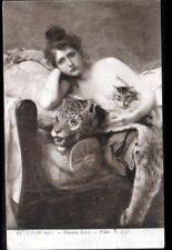 ART - PEINTURE / FEMME nue avec PEAU de PANTHERE & CHAT par Maurice LARD en 1905