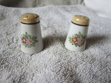 "VINTAGE SALT & PEPPER LUSTERS ROUND WHITE & GOLD WITH FLOWERS 1 3/4 "" TALL"