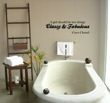 CLASSY & FABULOUS coco chanel Wall Decal Lettering Quote art Sticker decor