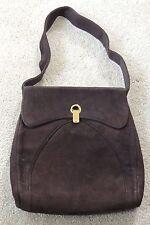 vintage ART DECO 1930s  dark brown suede purse