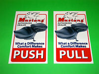 MUSTANG MOTORCYCLE SEATS DEALER PUSH PULL STICKERS DECALS