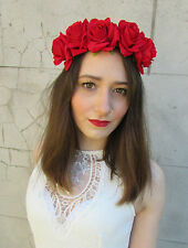 Red Rose Flower Headband Hair Crown Festival Boho Garland Vtg Large Big Lana