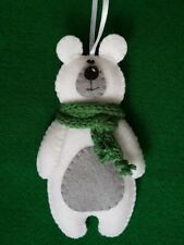 Handmade Shabby Chic Felt Cute Polar Bear Christmas Tree Decoration