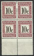 SOUTH AFRICA 1961-69 POSTAGE DUE 10c BLOCK MINT