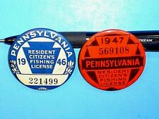 NICE VINTAGE 1946 AND 1947 PENNSYLVANIA RESIDENT CITIZENS FISHING LICENSE PINS