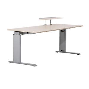 BENE - Schreibtisch höhenverstellbar Computertisch 200 x 80 Ahorn, Silber *4509*