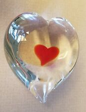 Heart in Heart Glass Valentine Heart Paperweight 4""