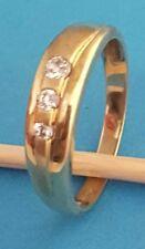 Damen-Ring 333 Gelbgold 8 Karat Zirkonia Größe 64 Teil mattiert gestempelt NEU