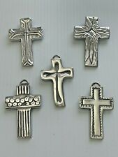Lot of 5 Cross Pewter Wall Hanging / Favors Gift/ Baptism/ First Communion #292
