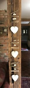 White Wooden Hearts with Pebbles and Driftwood Shabby Chic Hanging Decoration