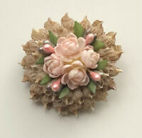 Unique  vintage handcrafted seashell flower Brooch Pin