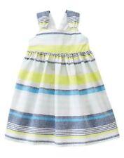 Gymboree BLUE SAFARI linen blend stripe dress size 4 4T NWT