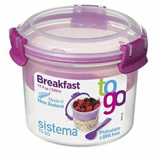 Sistema To Go Compact Breakfast Storage Container, 530 ml - ClearPink