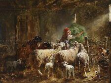 Pintura Interior Estudio gebler ovejas alimentación impresión arte cartel Imagen lf502