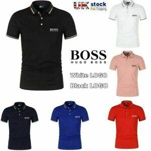 Summer Boss Mens Golf Sports Polo Shirt Smooth Shirts Tops T-shirt Short Sleeve