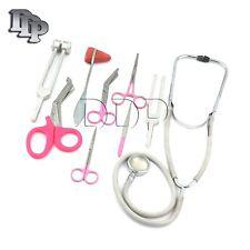 9 Piece Pink Medical Kit Diagnostic Emt Nursing Surgical Ems Student Paramedic