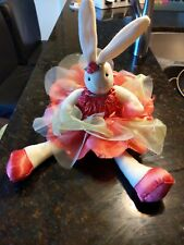 Beautiful Ballerina White Bunny Plush! Pink Dress Ballet 17""