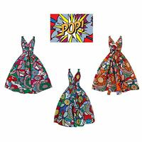 New Ladies 1950s Retro Vintage Floral Pop Art Cotton Swing Party Dress