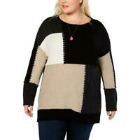 Style & Co. Plus Size Women's Patchwork Long Sleeve Pullover Sweater